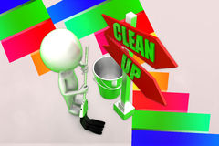 3d Man Clean Up illustration Royalty Free Stock Photography