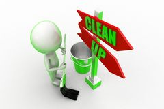 3d Man Clean Up Royalty Free Stock Image