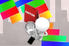 3d man cleaning caution Illustration Stock Photos
