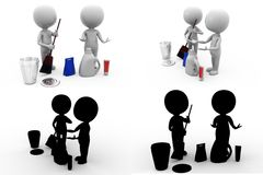 3d man cleaning Concept Collections With Alpha And Shadow Channel Stock Image