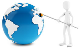 3d man cleaning globe  with broom. 3d man cleaning globe with broom on white background Stock Photo