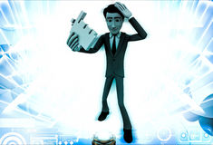 3d man with click hand in hands illustration Stock Images
