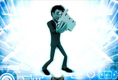 3d man with click hand in hands illustration Stock Image