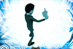 3d man with click hand in hands illustration Royalty Free Stock Photos