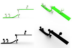 3d man climb arrow Concept Collections With Alpha And Shadow Channel Stock Photo