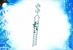 3d man climb arrow stair up towrds silver dollar sign illustration Stock Images