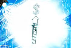 3d man climb arrow stair up towrds silver dollar sign illustration Stock Photography