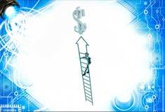 3d man climb arrow stair up towrds silver dollar sign illustration Stock Photo