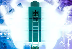3d man climb on building of cubes using ladder illustration Royalty Free Stock Images