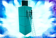 3d man climb on building of cubes using ladder illustration Stock Image