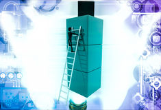 3d man climb on building of cubes using ladder illustration Stock Photography