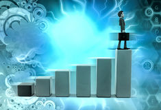 3d man climb graph illustration Royalty Free Stock Images