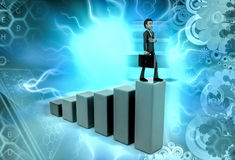 3d man climb graph illustration Royalty Free Stock Photography