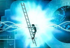 3d man climb ladder  illustration Stock Photography