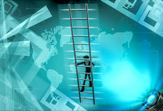 3d man climb ladder  illustration Stock Photo
