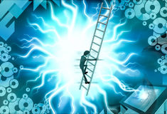 3d man climb ladder  illustration Royalty Free Stock Image