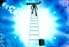 3d man climb ladder to reach economy text illustration Stock Image