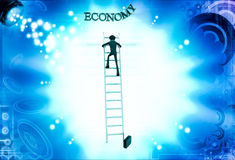 3d man climb ladder to reach economy text illustration Royalty Free Stock Photography