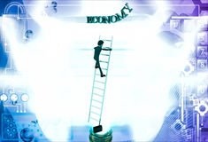 3d man climb ladder to reach economy text illustration Royalty Free Stock Image