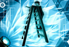 3d man climb ladder to repair illustration Stock Images