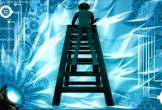 3d man climb ladder to repair illustration Royalty Free Stock Image