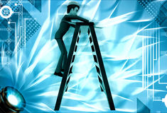 3d man climb ladder to repair illustration Stock Image
