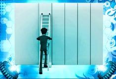 3d man climb ladder on wall illustration Royalty Free Stock Photography