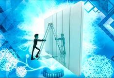 3d man climb ladder on wall illustration Royalty Free Stock Image