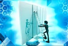 3d man climb ladder on wall illustration Stock Photos