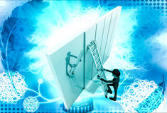 3d man climb ladder on wall illustration Royalty Free Stock Images