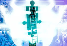 3d man climb puzzle with ladder illustration Stock Photography