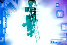 3d man climb puzzle with ladder illustration Stock Images