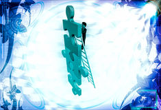 3d man climb puzzle with ladder illustration Royalty Free Stock Photo