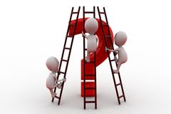 3d man climb question ladder concept Royalty Free Stock Photo