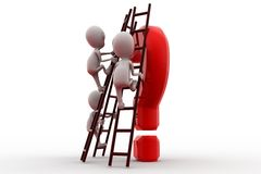3d man climb question ladder concept Royalty Free Stock Photos
