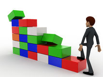3d man climb stairs of cubes concept Royalty Free Stock Photo