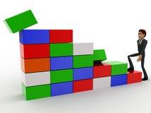 3d man climb stairs of cubes concept Stock Photos