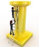 3d man climb tall golden pillar using ladder concept Royalty Free Stock Photo