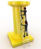 3d man climb tall golden pillar using ladder concept Royalty Free Stock Image