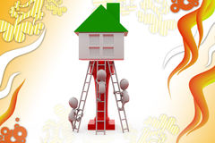3d man climb to house  illustration Royalty Free Stock Image