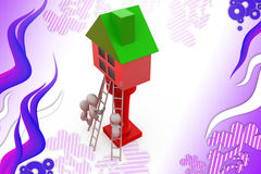 3d man climb to house  illustration Royalty Free Stock Photography
