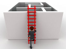 3d man climb to ladder to reach inside puzzled ways concept Stock Photography