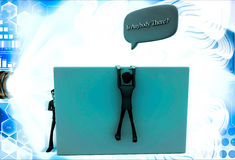 3d man climb wall and asking IS ANYBODY THERE illustration Stock Photo