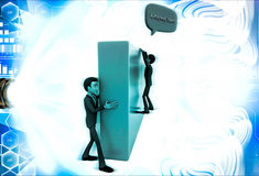 3d man climb wall and asking IS ANYBODY THERE illustration Royalty Free Stock Photos