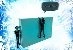 3d man climb wall and asking IS ANYBODY THERE illustration Royalty Free Stock Image