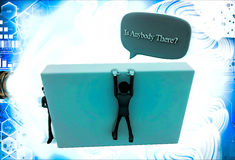 3d man climb wall and asking IS ANYBODY THERE illustration Royalty Free Stock Images