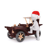3d man climbing into a cute model toy vintage car. 3d man climbing into a cute wooden model toy vintage car wearing a festive red hat for Christmas, rendered Royalty Free Stock Photography