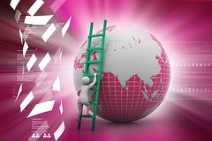 3d man climbing the Globe with the help of ladder. 3d man climbing the Royalty Free Stock Image