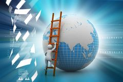 3d man climbing the Globe with the help of ladder. 3d illustration of man climbing the Royalty Free Stock Photography