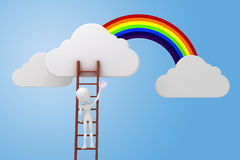 3d man climbing on a ladder, clouds and rainbow competitive concept Royalty Free Stock Photo